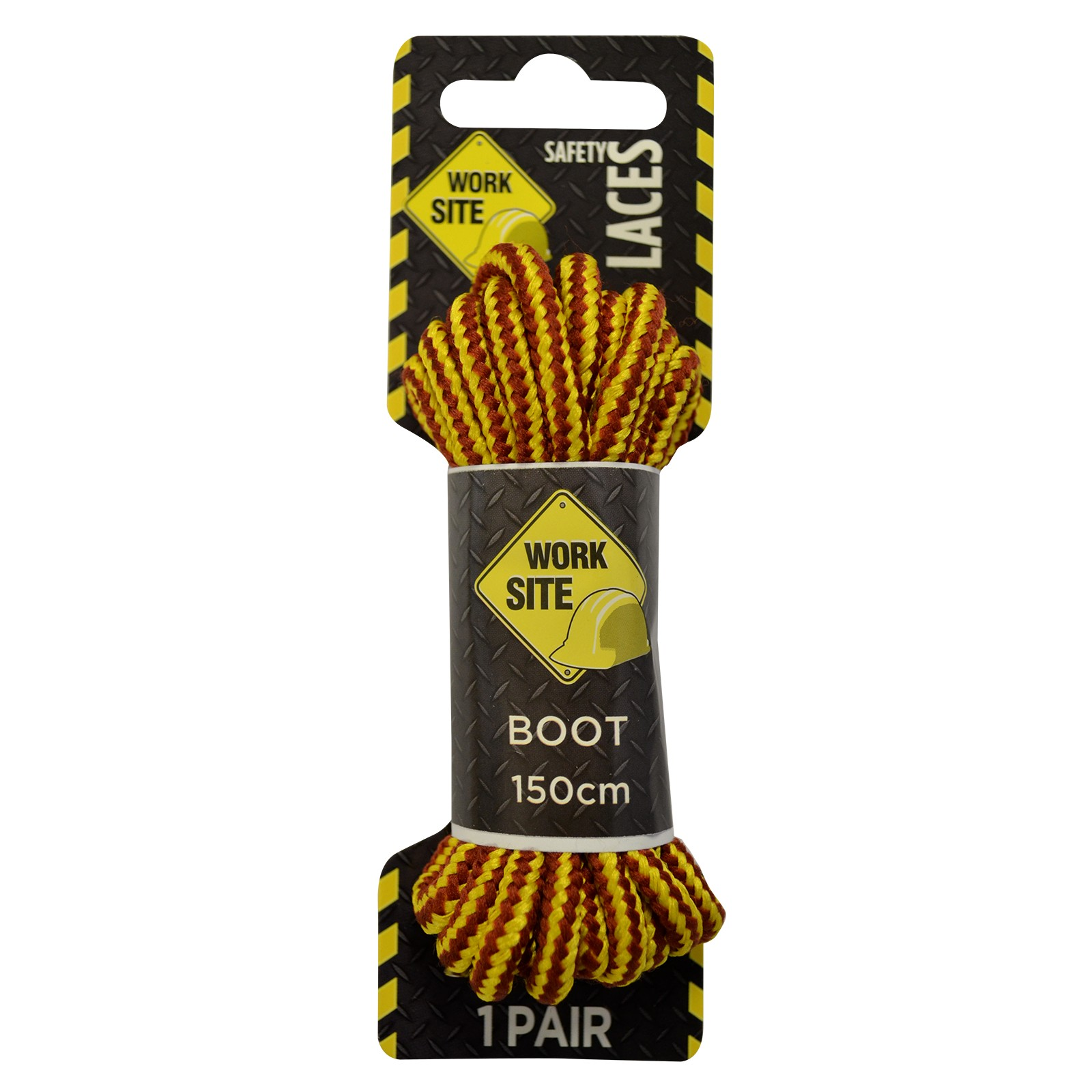 Brown/gold Stripe Cord Worksite Laces -