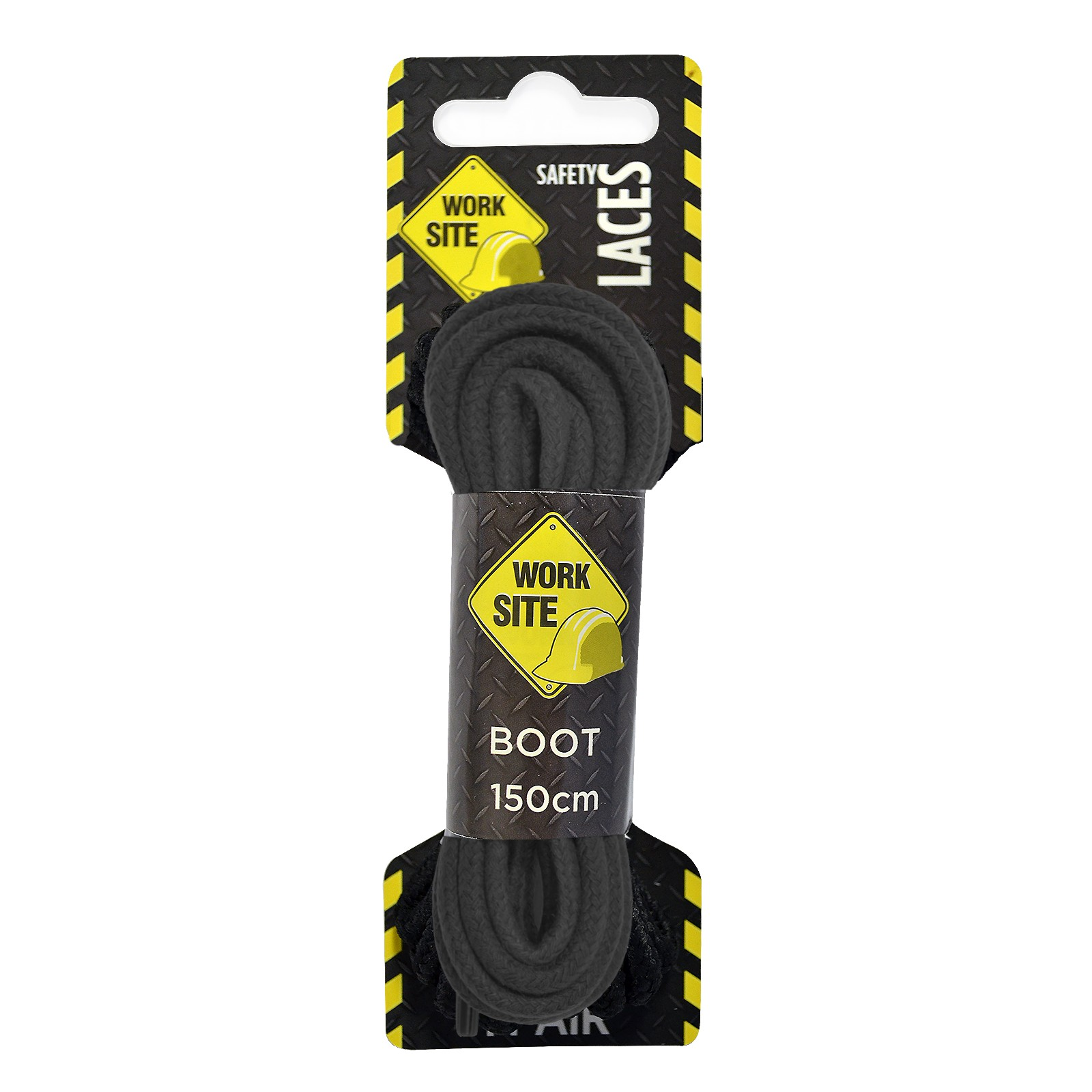 Black Worksite Laces Heavy Cord Wax -