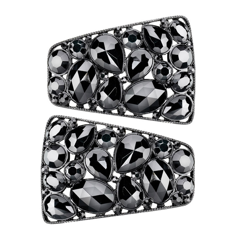 Shoe Clips Black Stones