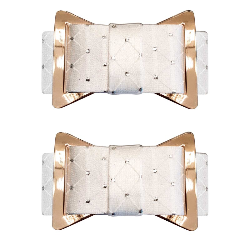 Shoe Clips White Diamond Print Tuxedo Bow