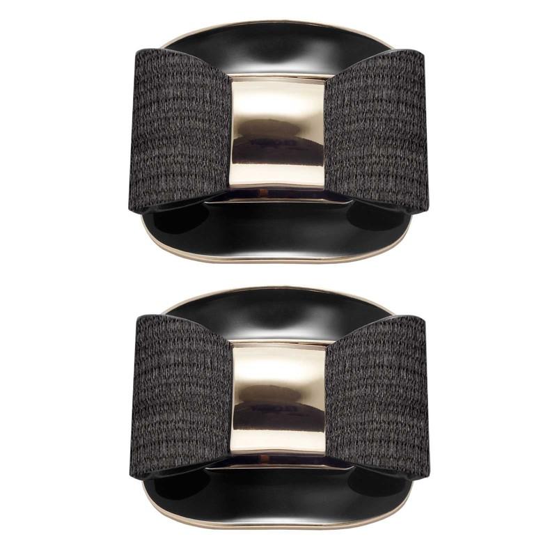 Shoe Clips Black Lacquer Buckle