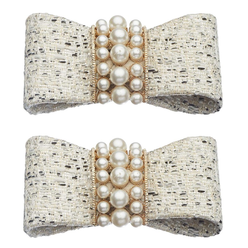 Shoe Clips White Tweed Pearl Bow