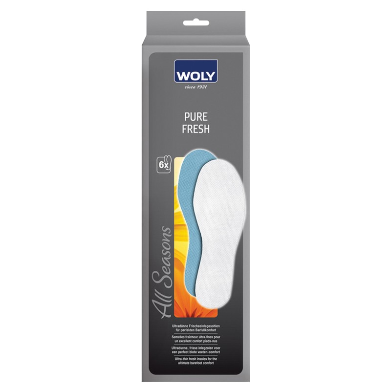 Woly Pure Fresh Insoles 6 Pairs In Each Pack Select Size