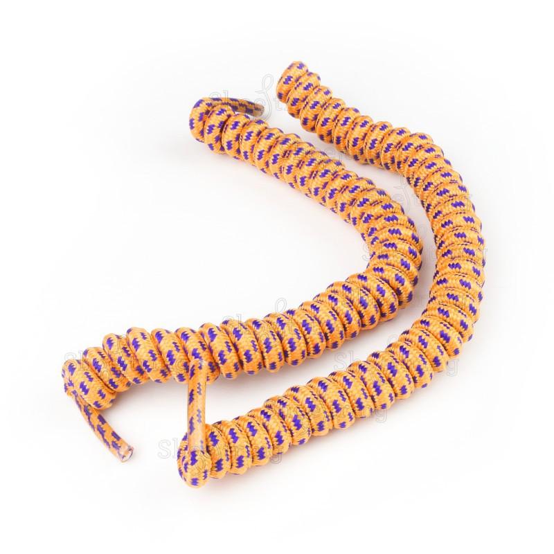 Orange & Purple No Tie Laces: Curly Shoelaces