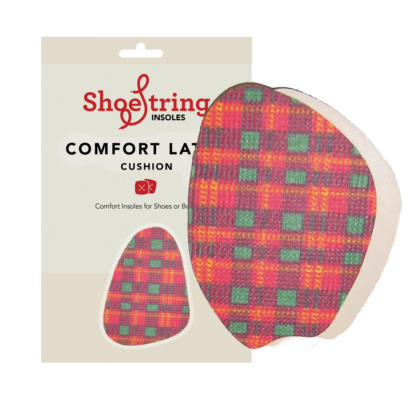 Shoestring Insoles Red Tartan Peep Toes
