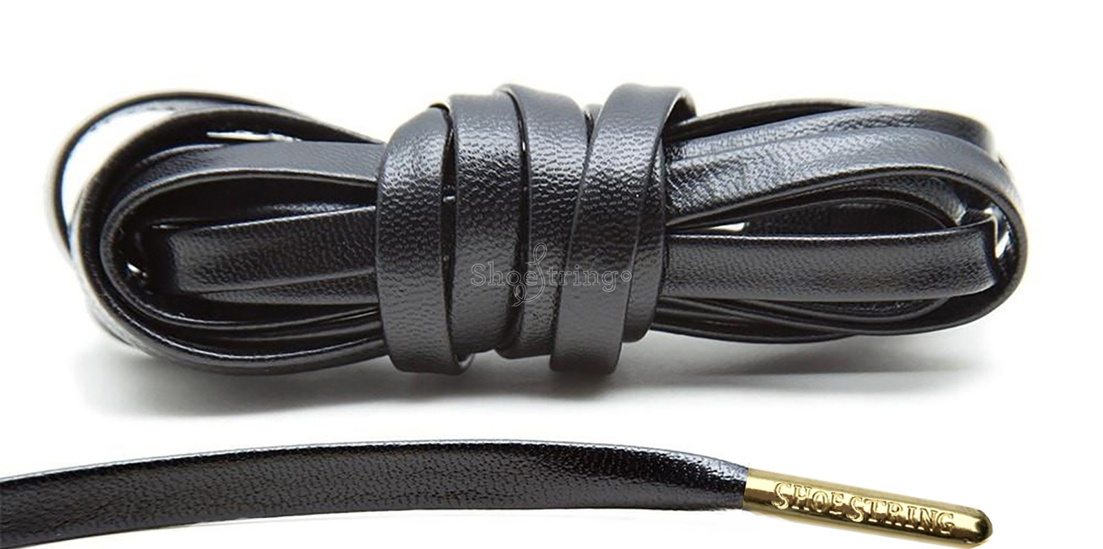 Black Leather Gold Metal Aglets Laces