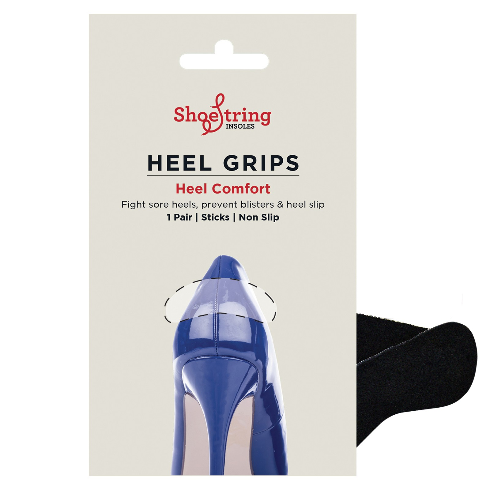Shoestring Black Heel Grips Pair