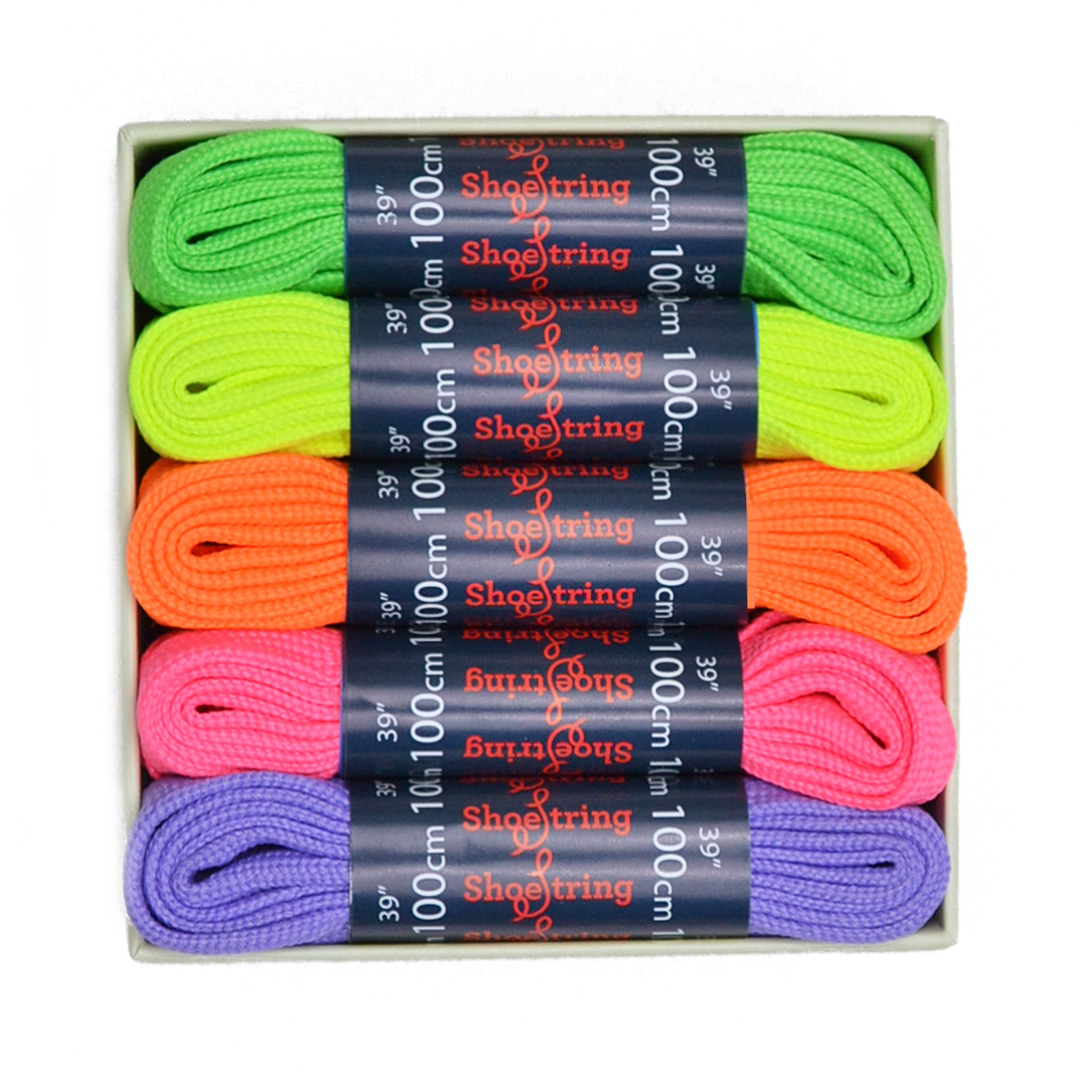 Shoestring Neon Laces Set Flat Fashion Shoe 100cm, Set Of 5 Pairs In Gift Box