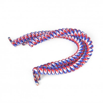 Red White & Blue, No Tie Laces : Shoestring Curly Shoelaces