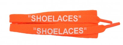 "Neon Orange 120cm Flat ""shoe Lace"" Print Banded"