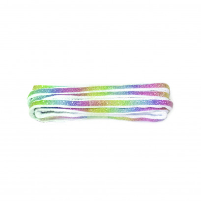 White 90cm Oval Glitter Rainbow Strip