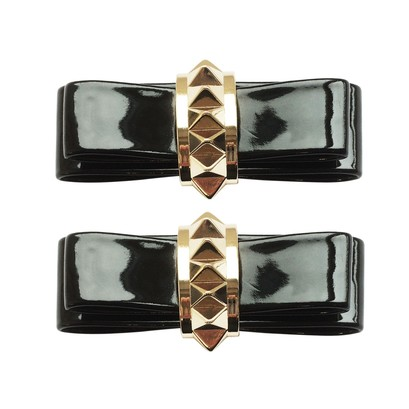 Shoe Clips Patent Bow Stud Gold