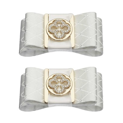 Shoe Clips White Double Gold Print Bow