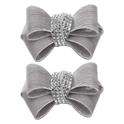 Shoe Clips Taupe Crystal Triple Bow