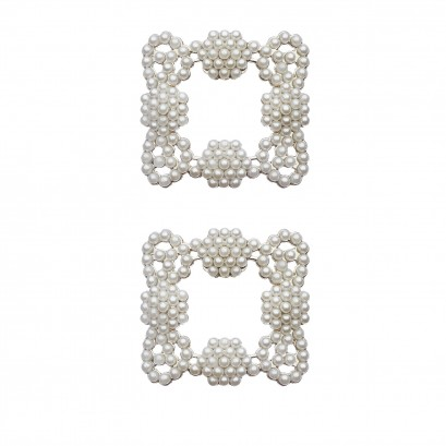 Shoe Clips Gold Pearl Buckle