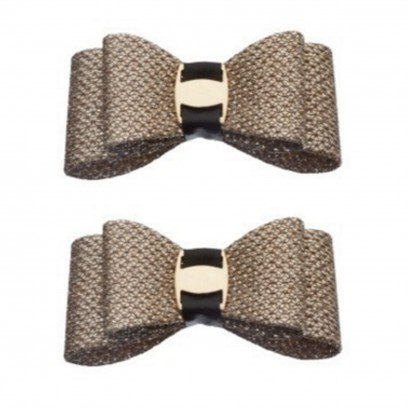 Shoe Clips Gold Sparkle Bow