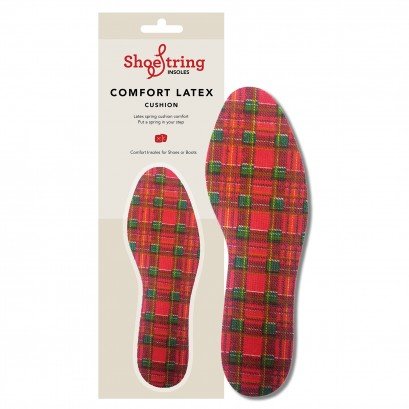 Shoestring Insoles Red Tartan Select Size
