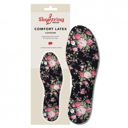 Shoe String Cut To Size Insoles Roses Print Ladies
