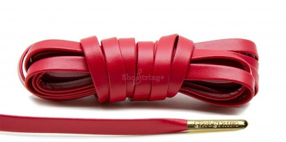Red Leather Gold Metal Aglets Laces
