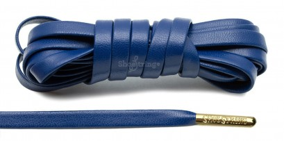 Blue Leather Gold Metal Aglets Laces
