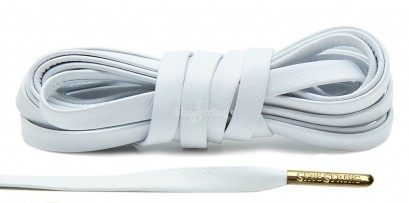 White Leather Gold Metal Aglets Laces