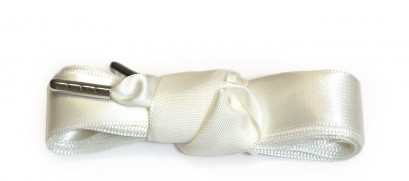 White Ribbon Laces Metal Aglet
